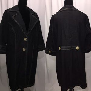 """LIZ & ME Black Denim 3/4 length Jacket """"EUC"""" Sz:0X"""